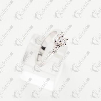 Δαχτυλίδι γυναικείο Κ18 με μπριγίαν φ. 0,20mm