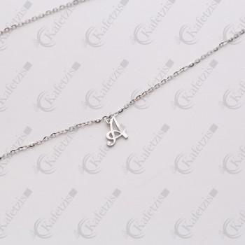 Μενταγιόν μονόγραμμα κλασσικό σέ ασήμι,χρυσό Κ14,διαμάντι καί σμάλτο