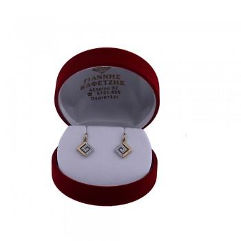 Σκουλαρίκια Λευκό-Κίτρινο Κ14 με ζιργκόν