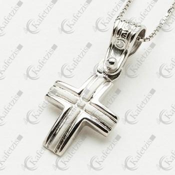 Ανδρικός σταυρός Λευκός με αλυσίδα